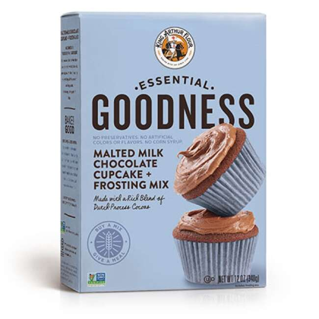 Essential Goodness Malted Milk Chocolate Cupcake + Frosting Mix