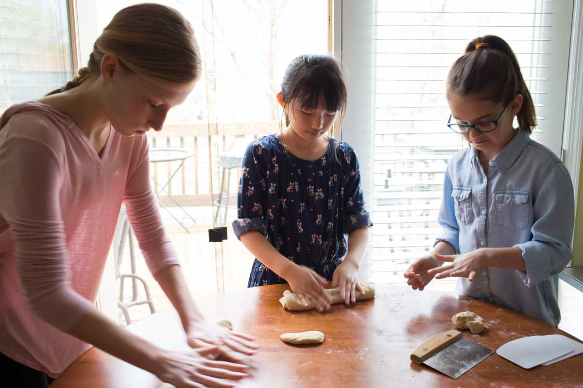 Kids baking together
