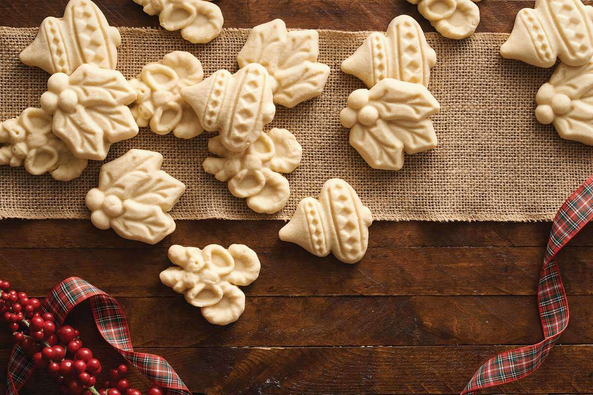 Stamped holiday cookies