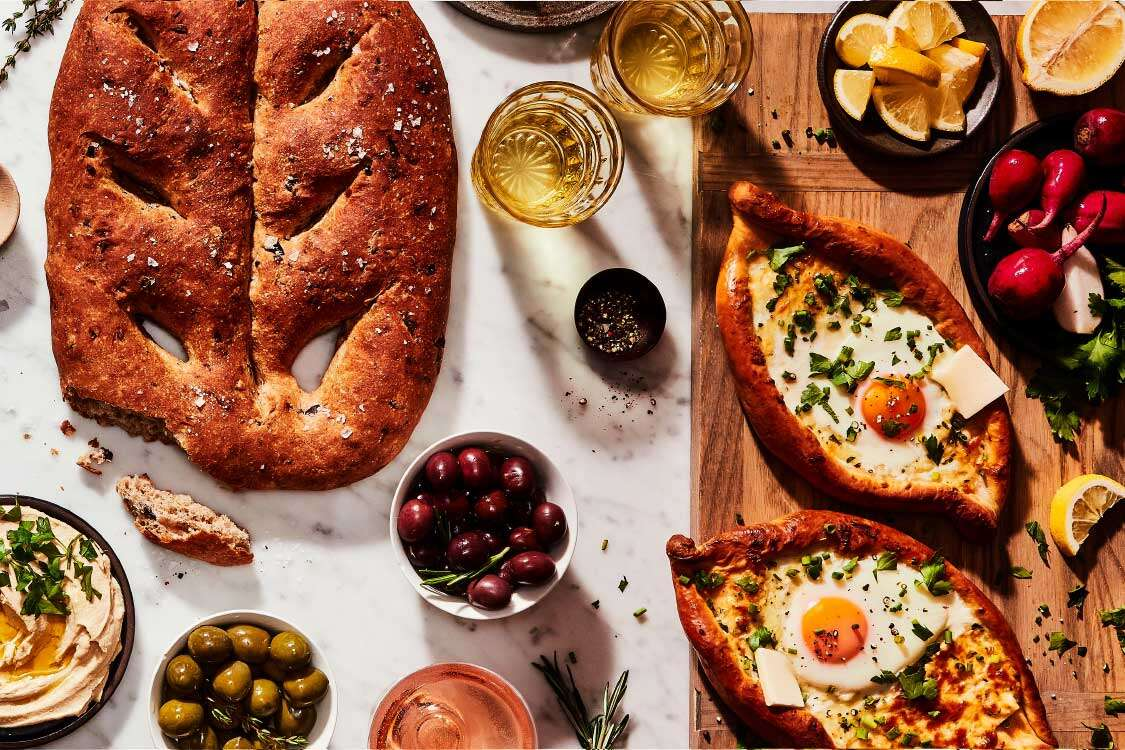 Khachapuri and fougasse