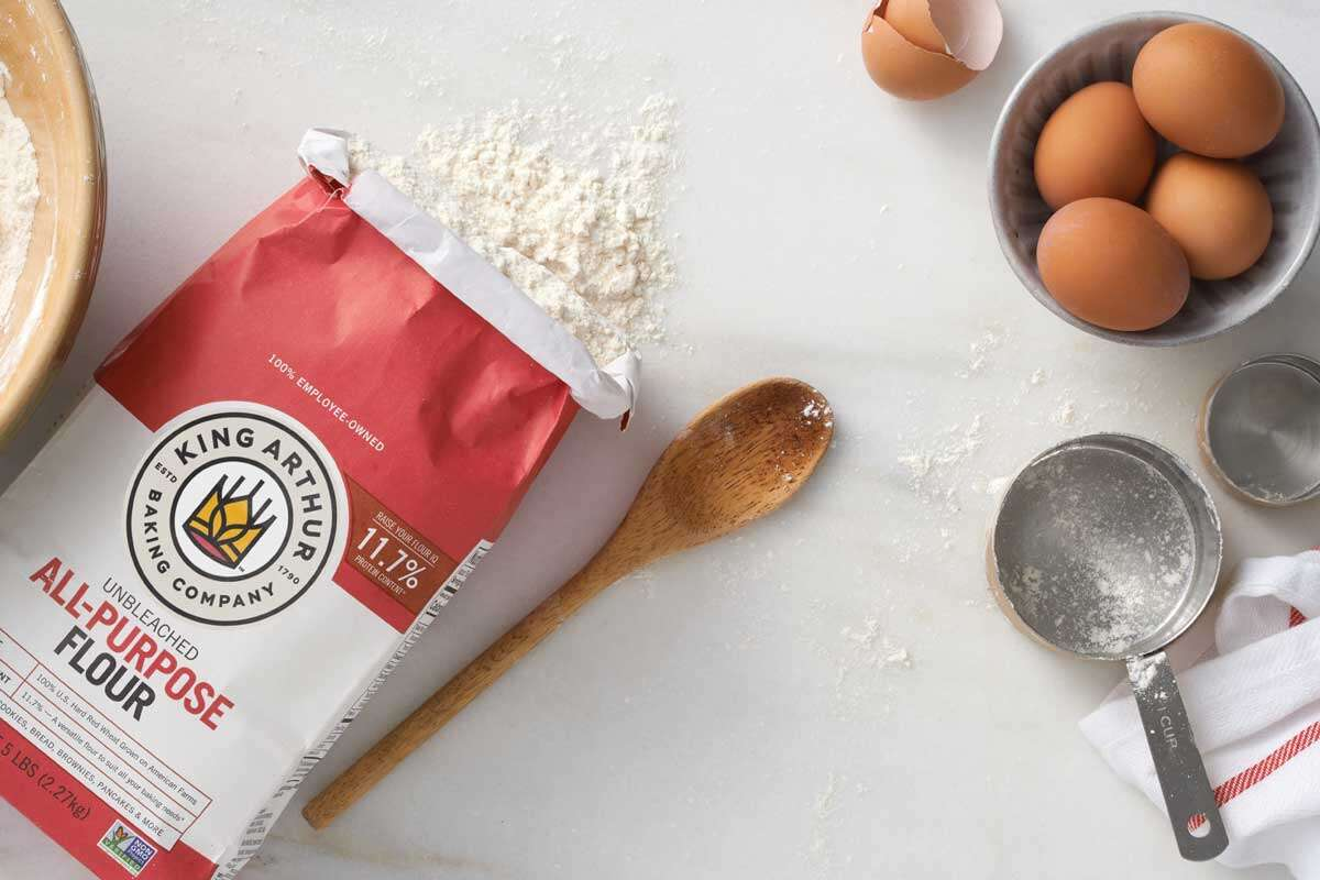 Bag of flour next to ingredients