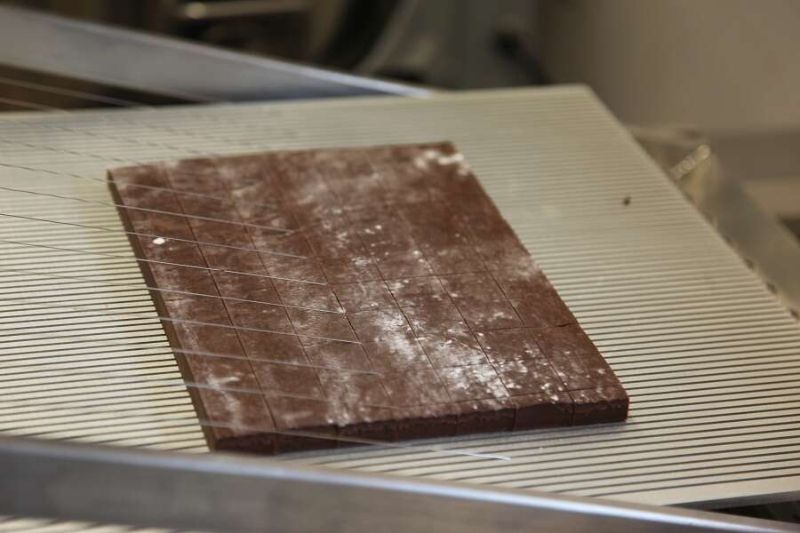 cutting chocolate