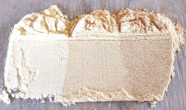 All-purpose flour on the left; white whole wheat in the center; traditional (red) whole wheat on the right.