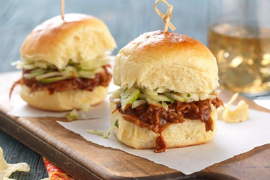 Hawaiian buns, turned into pulled pork sandwiches.