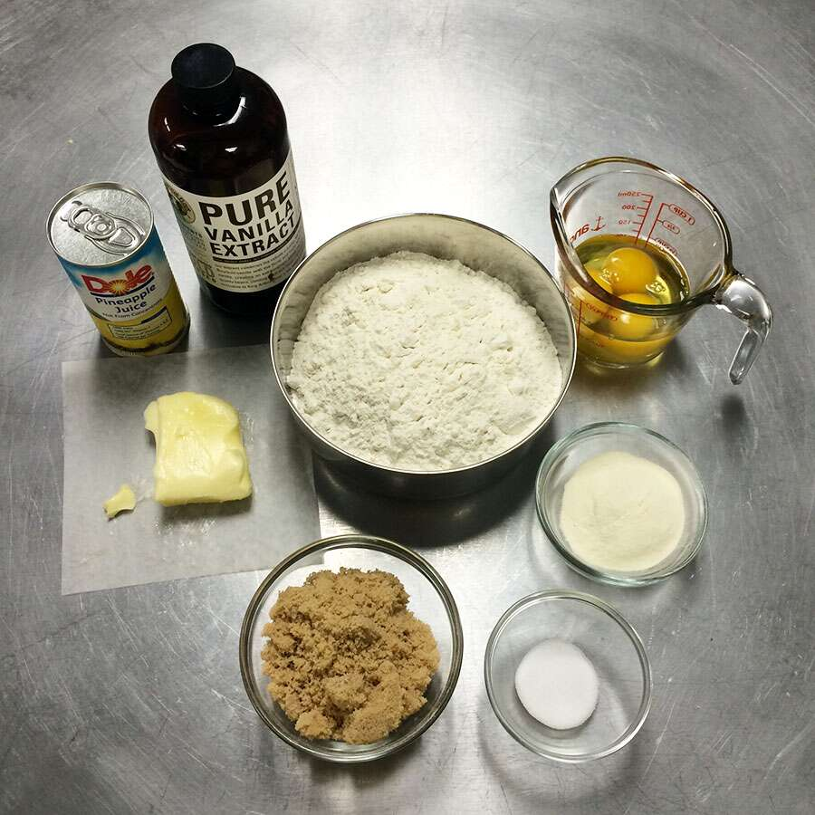 Both and wet and dry ingredients for the Hawaiian buns.