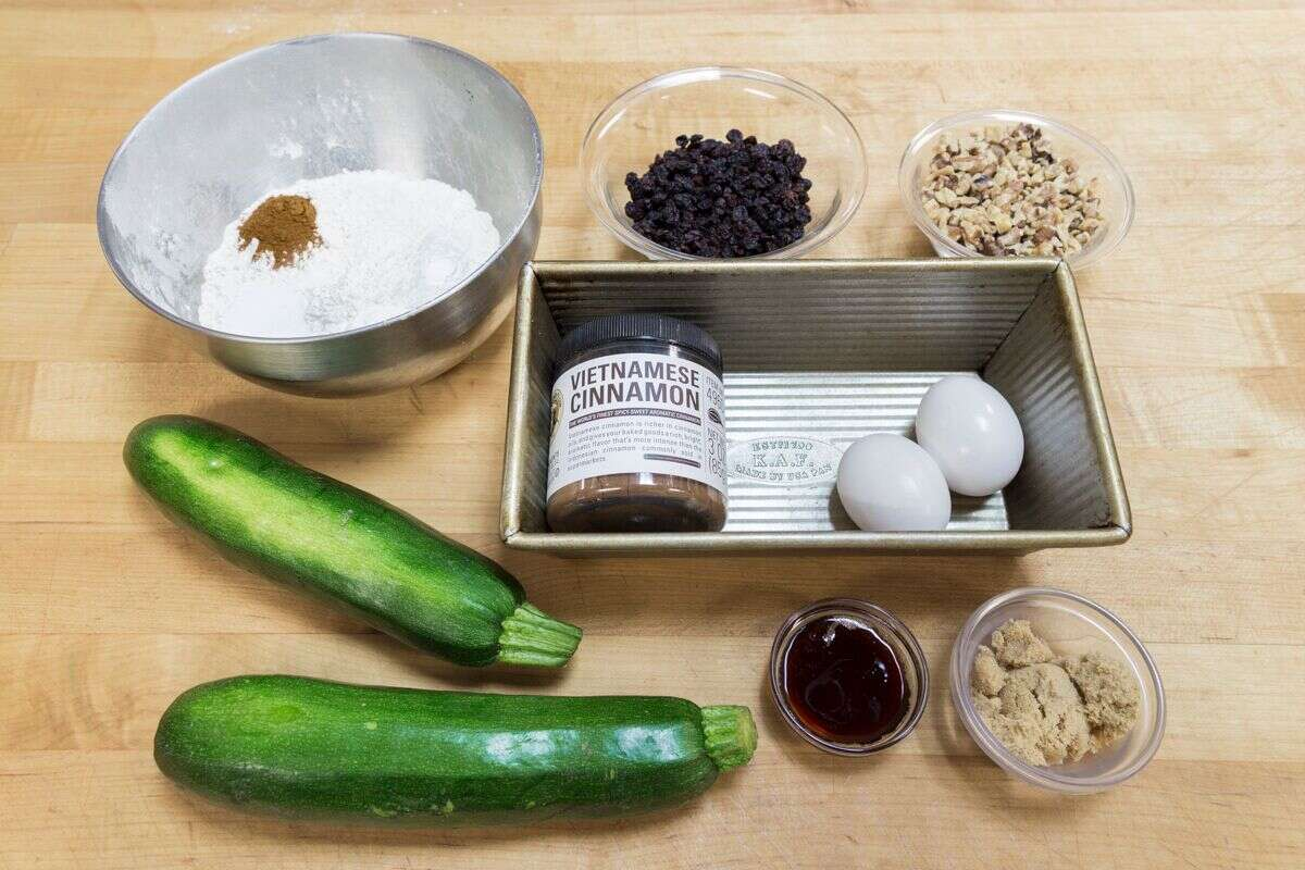 Simple zucchini bread ingredients via @kingarthurflour