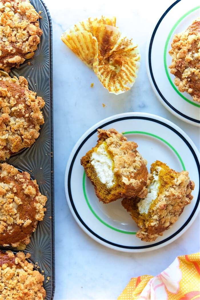 Pumpkin Muffins Bakealong via @kingarthurflour