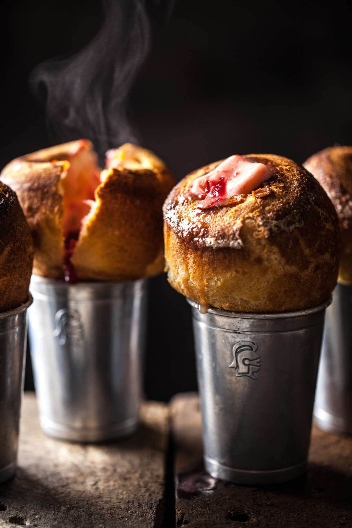 Popovers with cranberry butter via @kingarthurflour