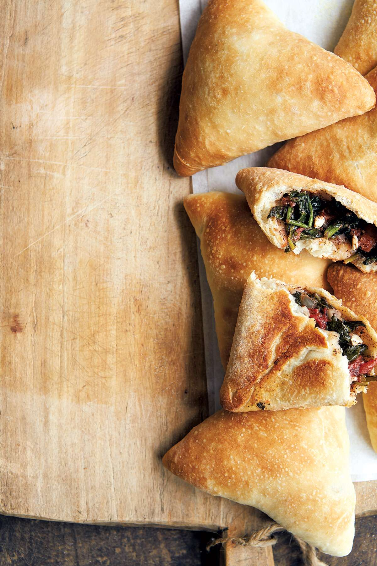 wood oven flatbreads spinach-filled Lebanese via @ kingarthurflour