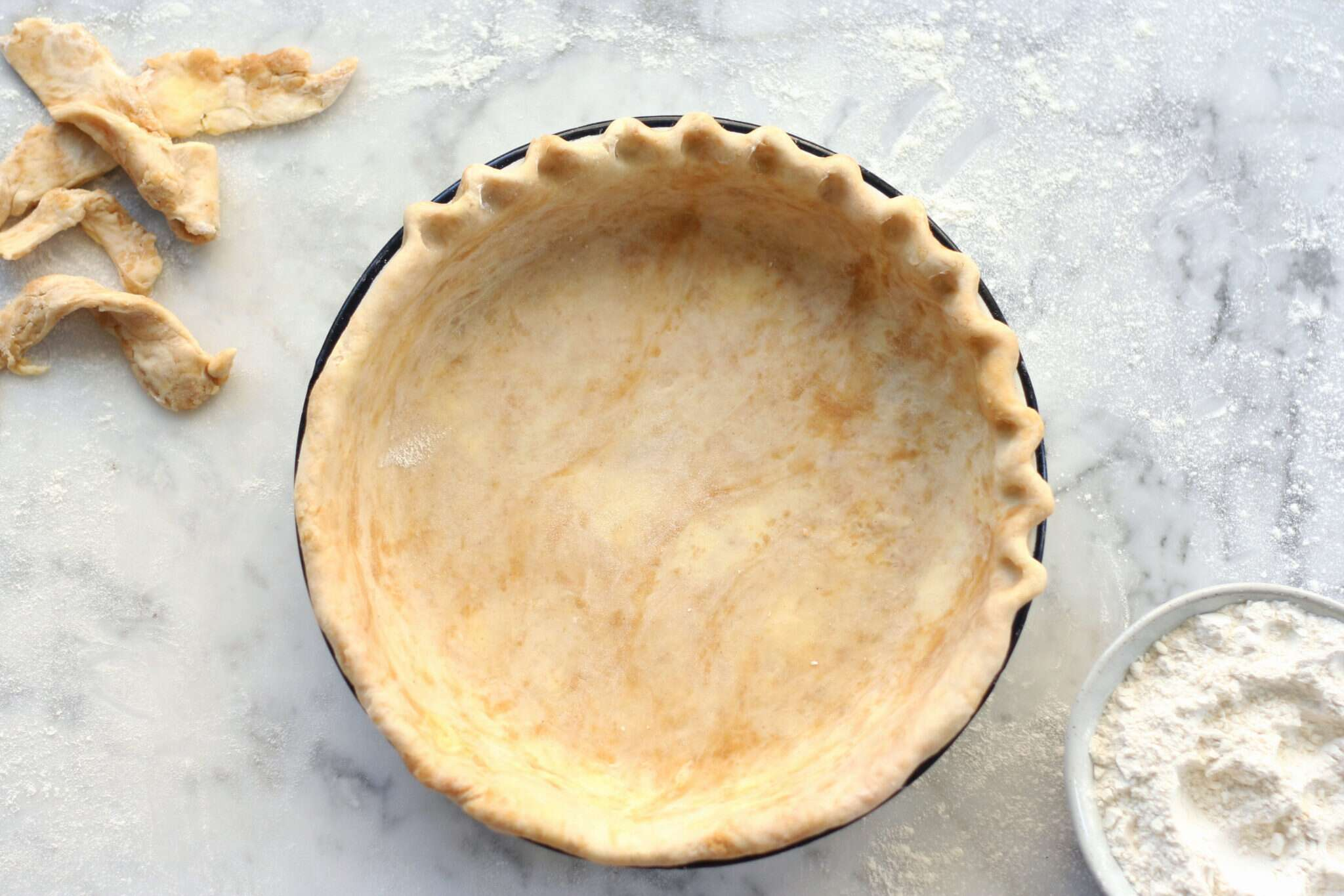 Peanut butter dough pie crust via @KingArthurFlour