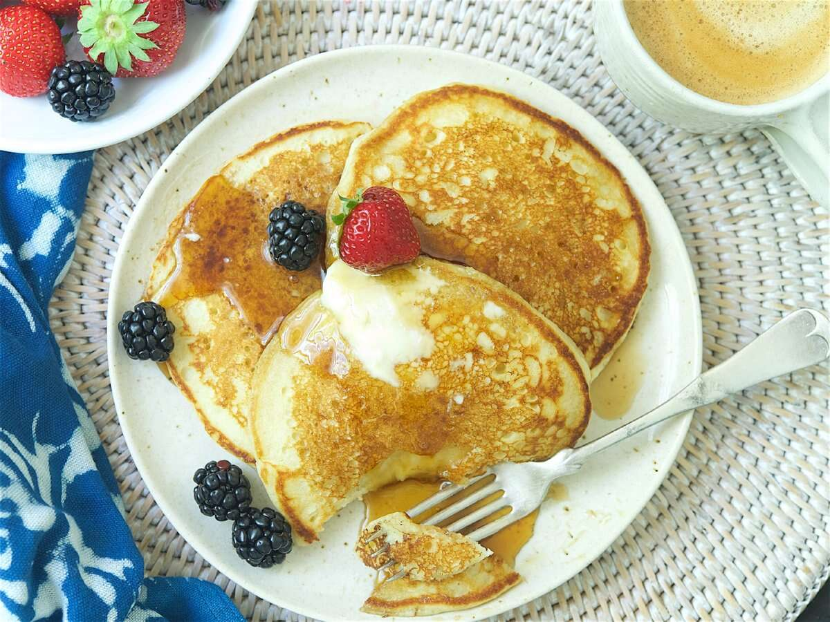Buttermilk Pancakes via @kingarthurflour