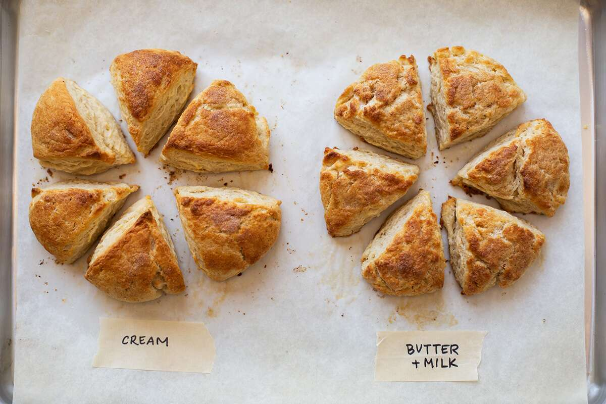 Cream scones vs. butter scones via @kingarthurflour
