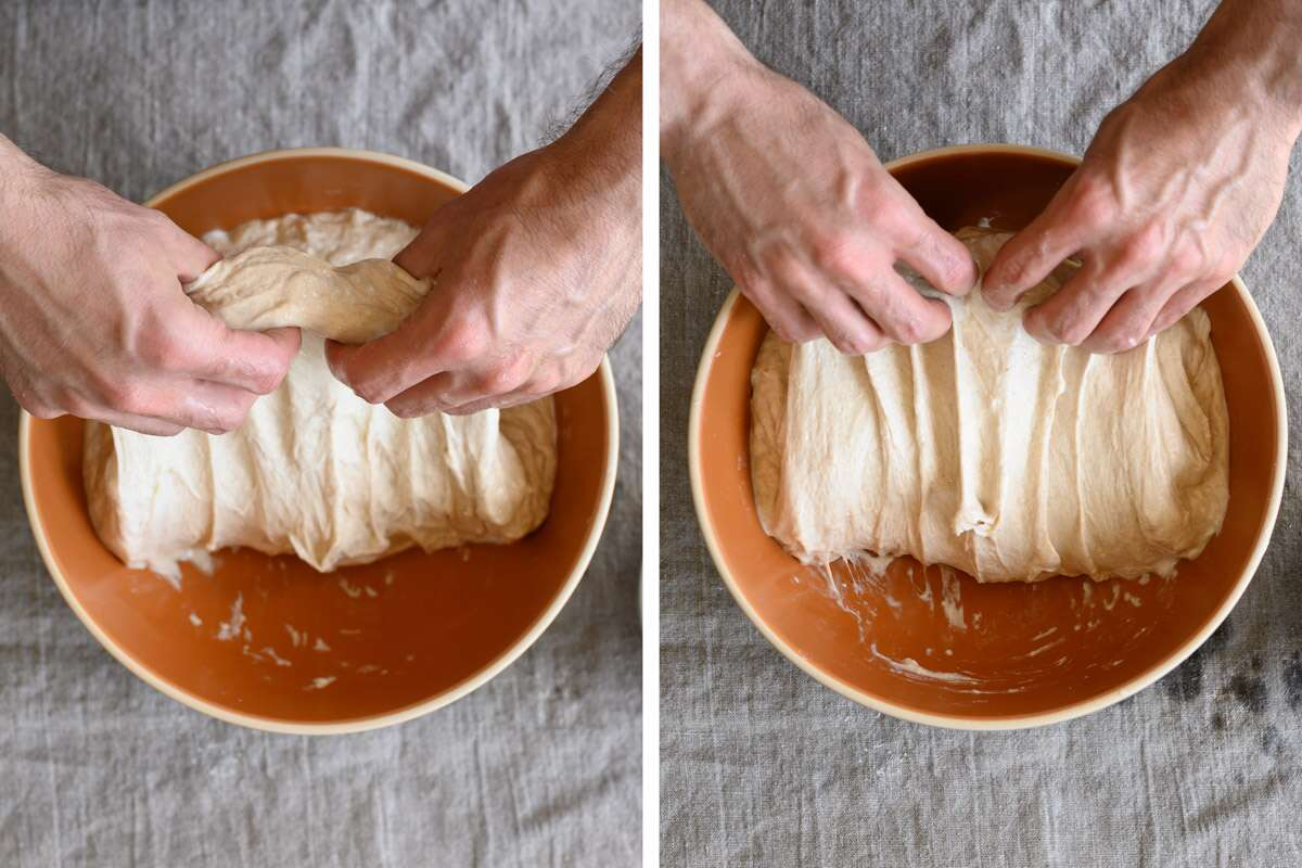 Two images of folding bread dough with wet hands