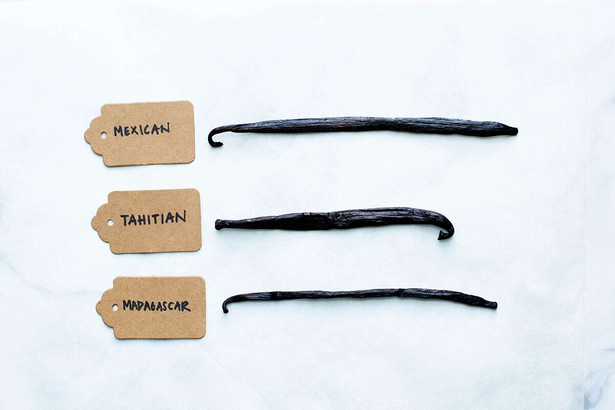 Three varieties of vanilla beans with their labels: Mexican, Tahitian, and Madagascar.