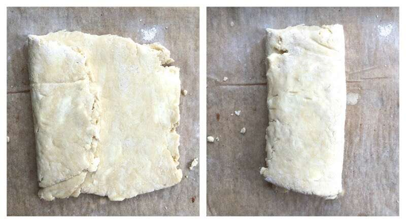 Folding pie crust dough like a letter prior to rolling
