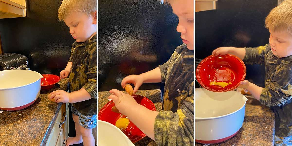 Three images showing a child learning how to crack eggs