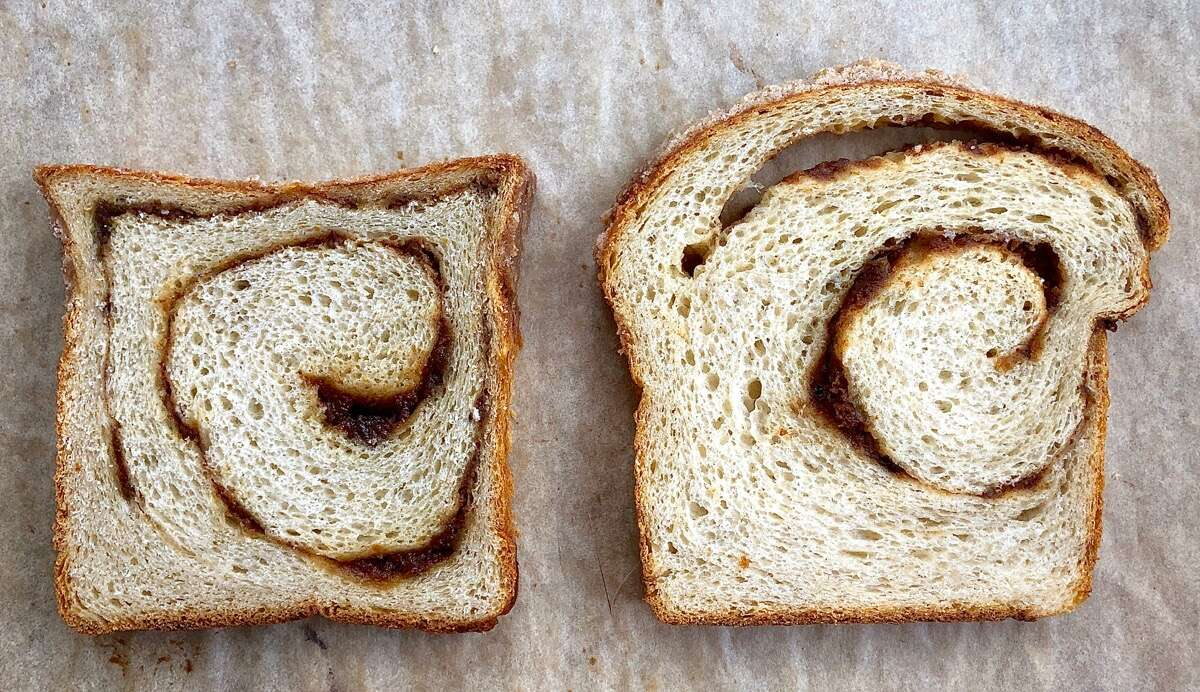 Two slices of cinnamon swirl bread, one with a gap between filling and bread, one without.