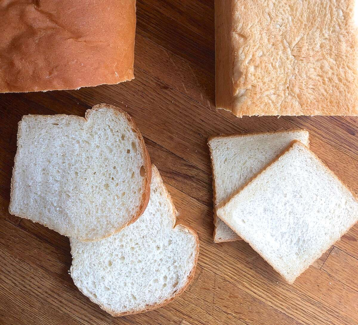 Comparison of slices of bread from two pans: standard loaf pan and pain de mie pan