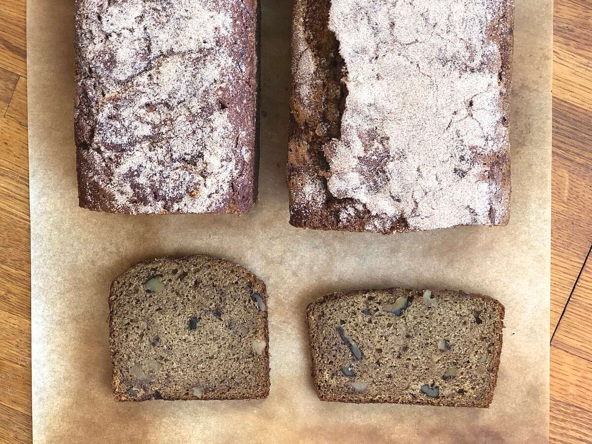 "Slices of whole-grain banana bread for shape comparison: square from 9"" x 4"" pan, rectangular from 9"" x 5"" pan."