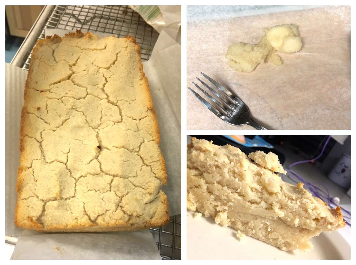 Three photos: loaf of paleo bread, unsliced; slice of paleo bread; paleo fried dough, all a crumbly mess.