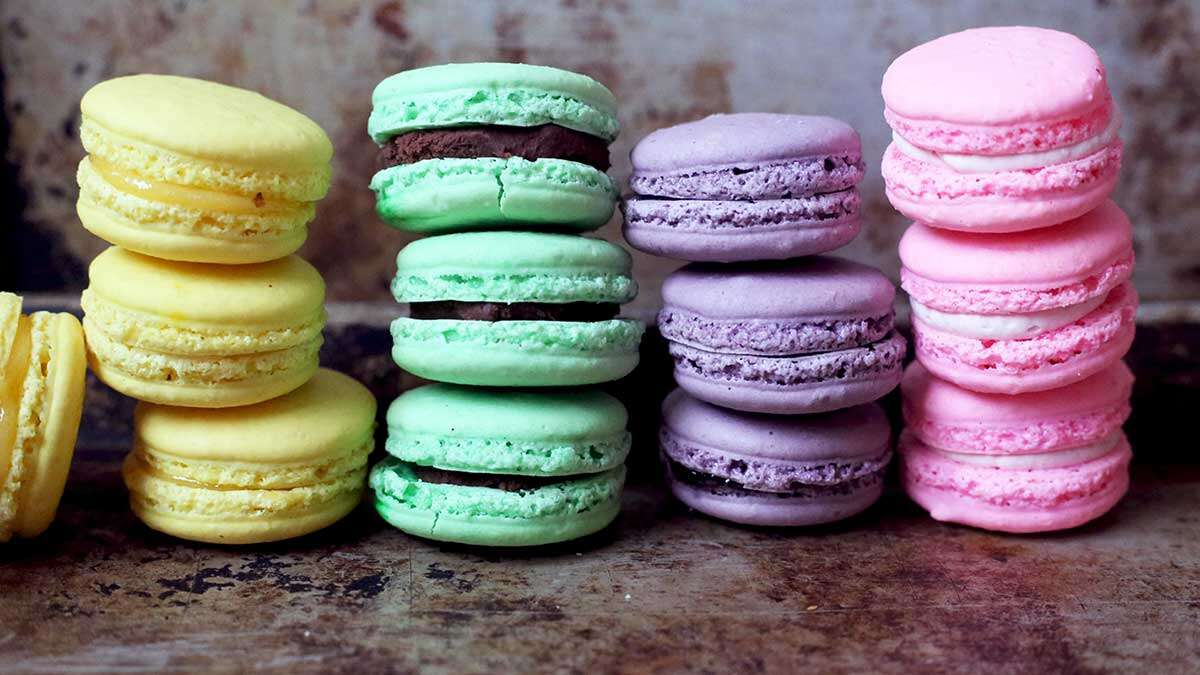 Stacks of colorful French macarons