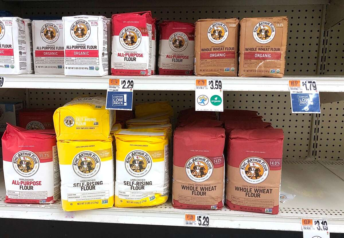 Supermarket shelves pretty empty of flour except for King Arthur Flour, which has been restocked.