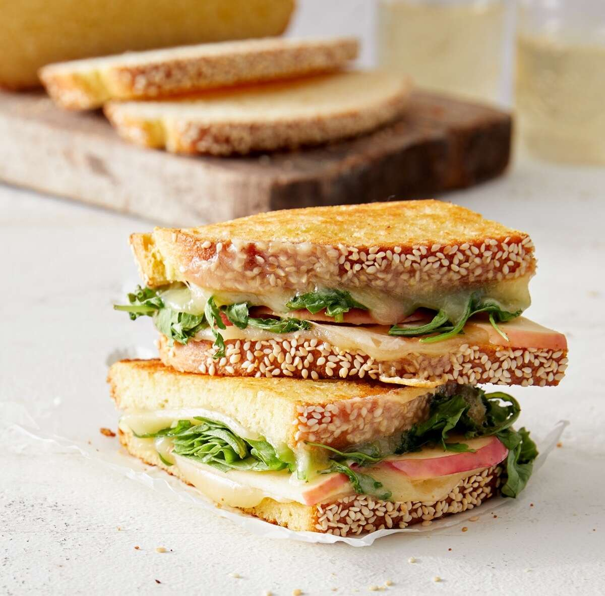 Grilled apple, cheddar, and arugula sandwich on Semolina Sandwich Bread