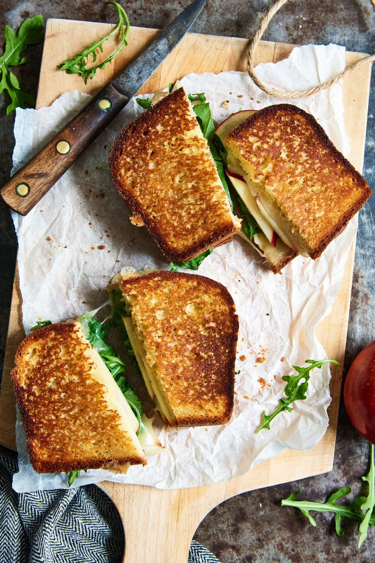 Apple, cheese and arugula sandwiches made on toasted Gluten-Free Toasting and Sandwich Bread.