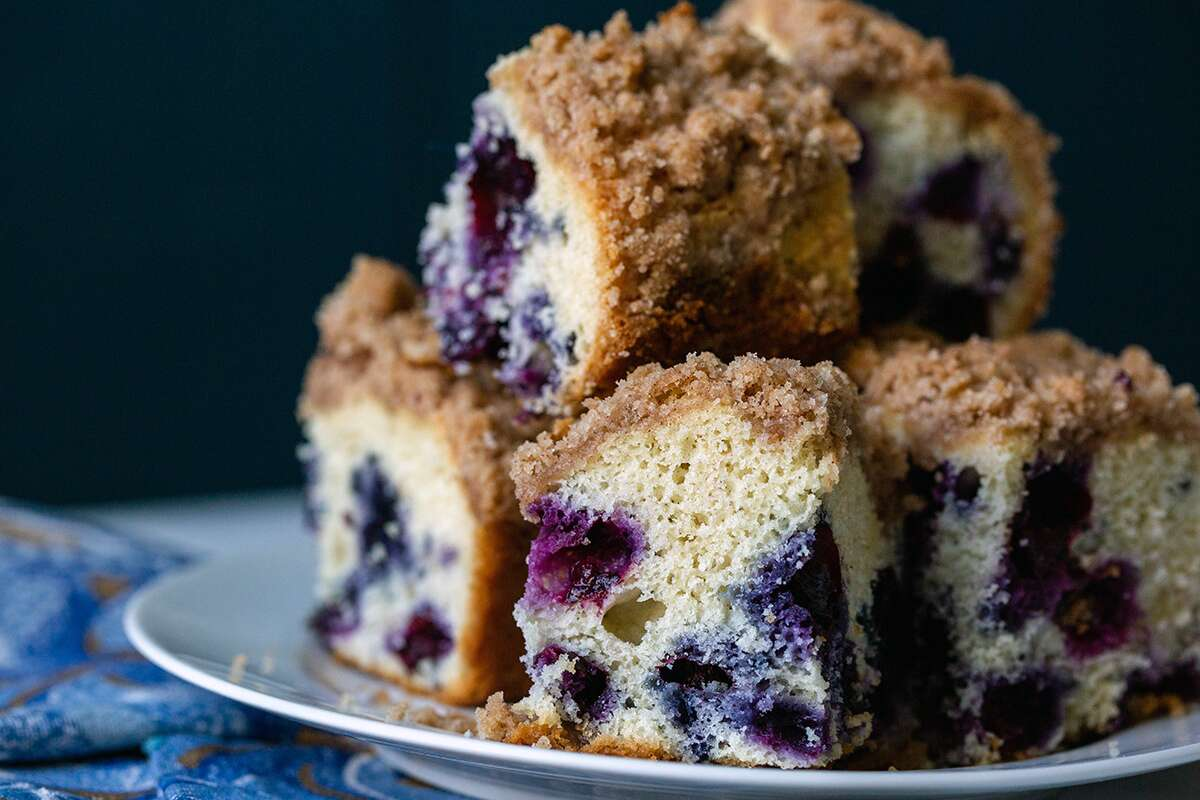 A plate of gluten-free Blueberry Buckle Coffeecake