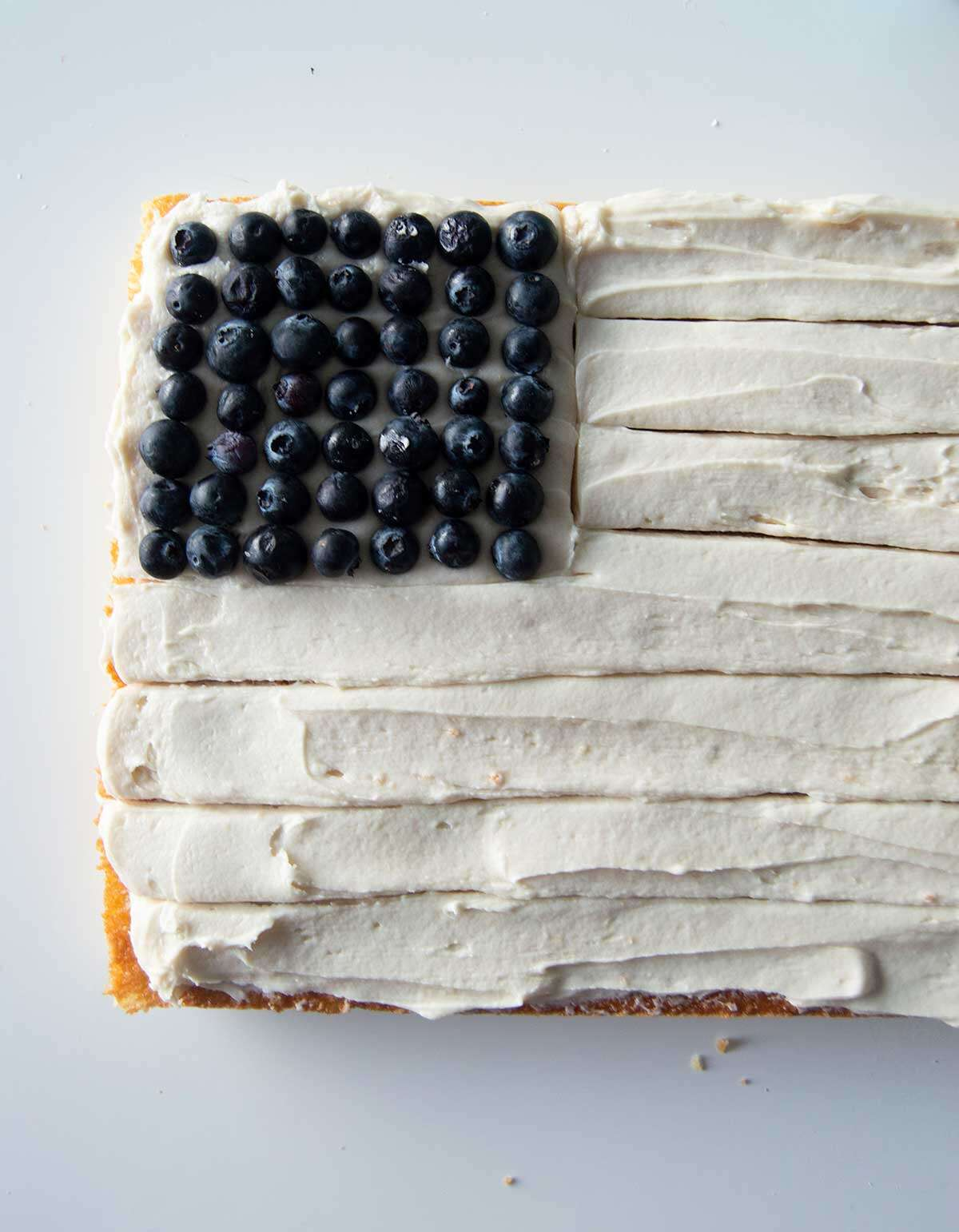 Flag cake with only blueberries