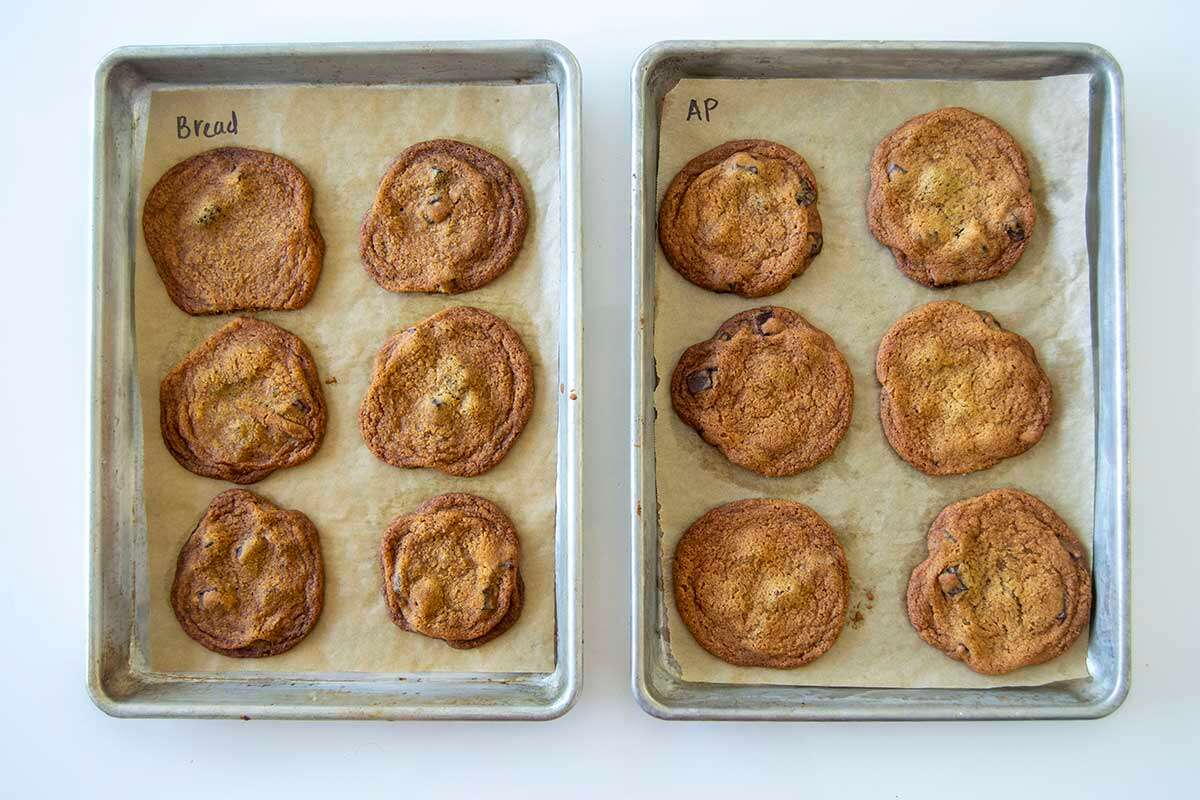 Two pans, one with bread flour chocolate chip cookies and one with all-purpose