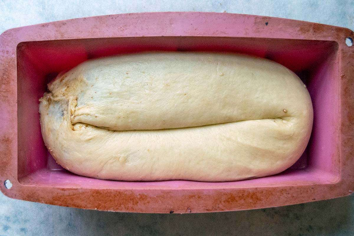 Potica dough in bread pan