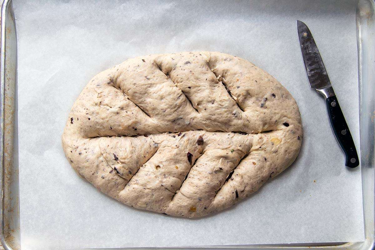 Fougasse dough with slices cut