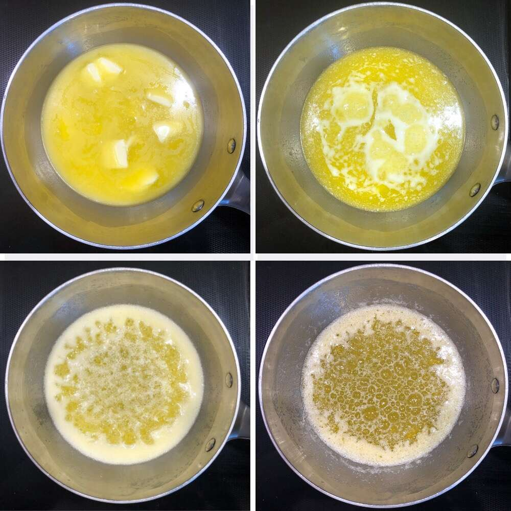 Four photos showing the four stages of butter browning in a saucepan