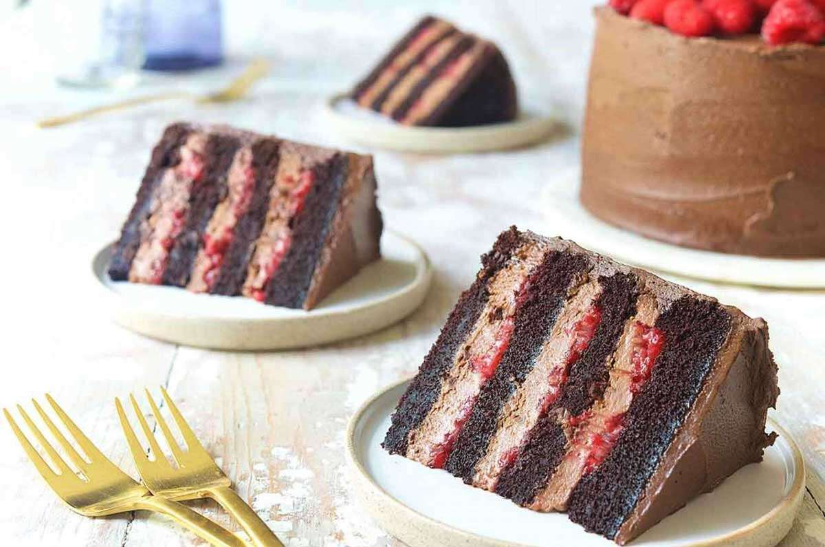 Plated slices of chocolate raspberry cake