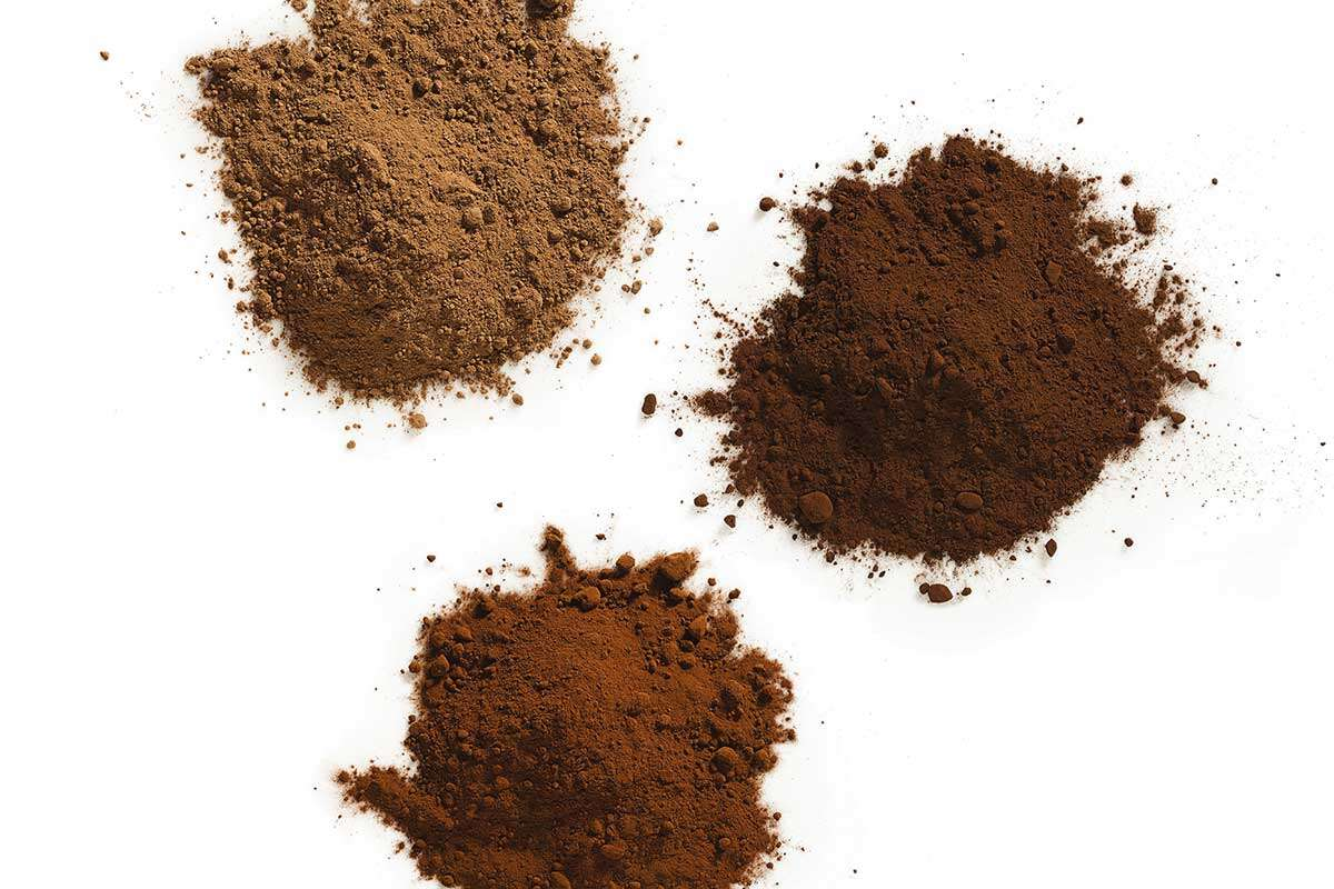 Three piles of different cocoa powders, one dark in color, one medium, and one light