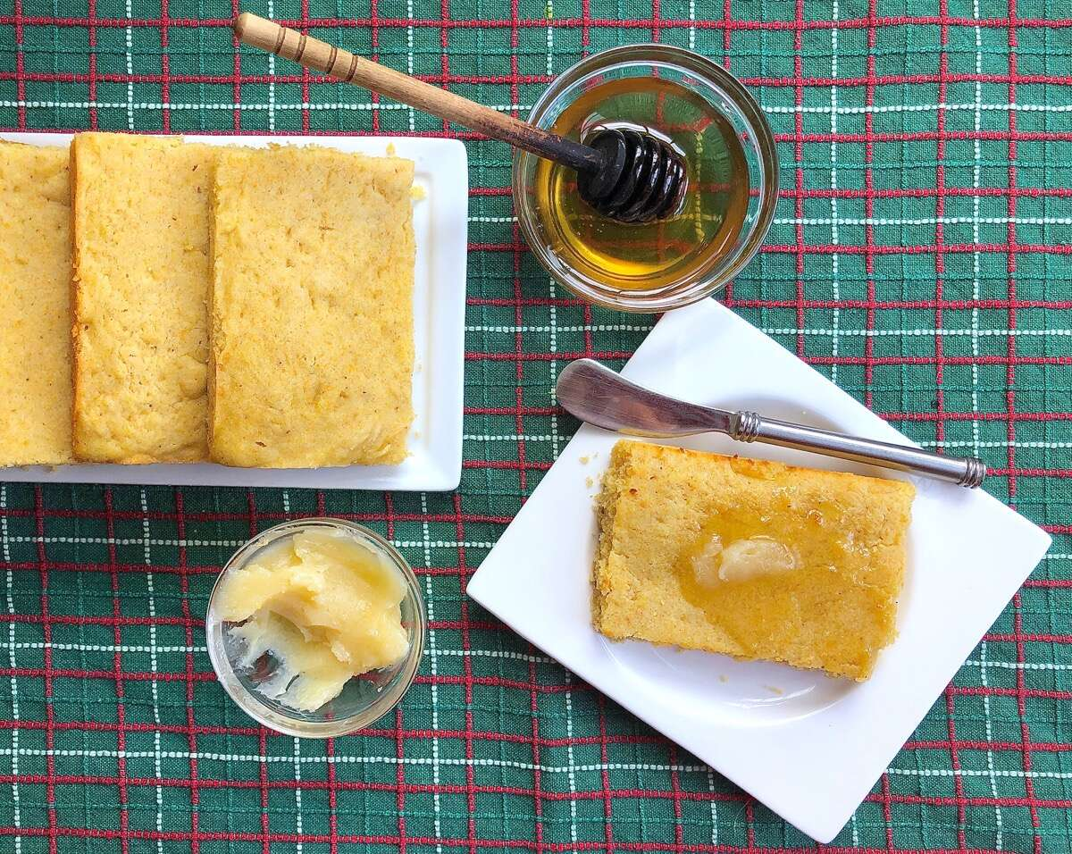 "Cornbread baked in a 9"" x 13"" pan, then cut into rectangles to make toaster corncakes."