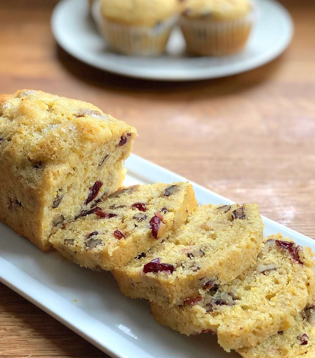 Cranberry-walnut cornbread, as a mini loaf and muffins