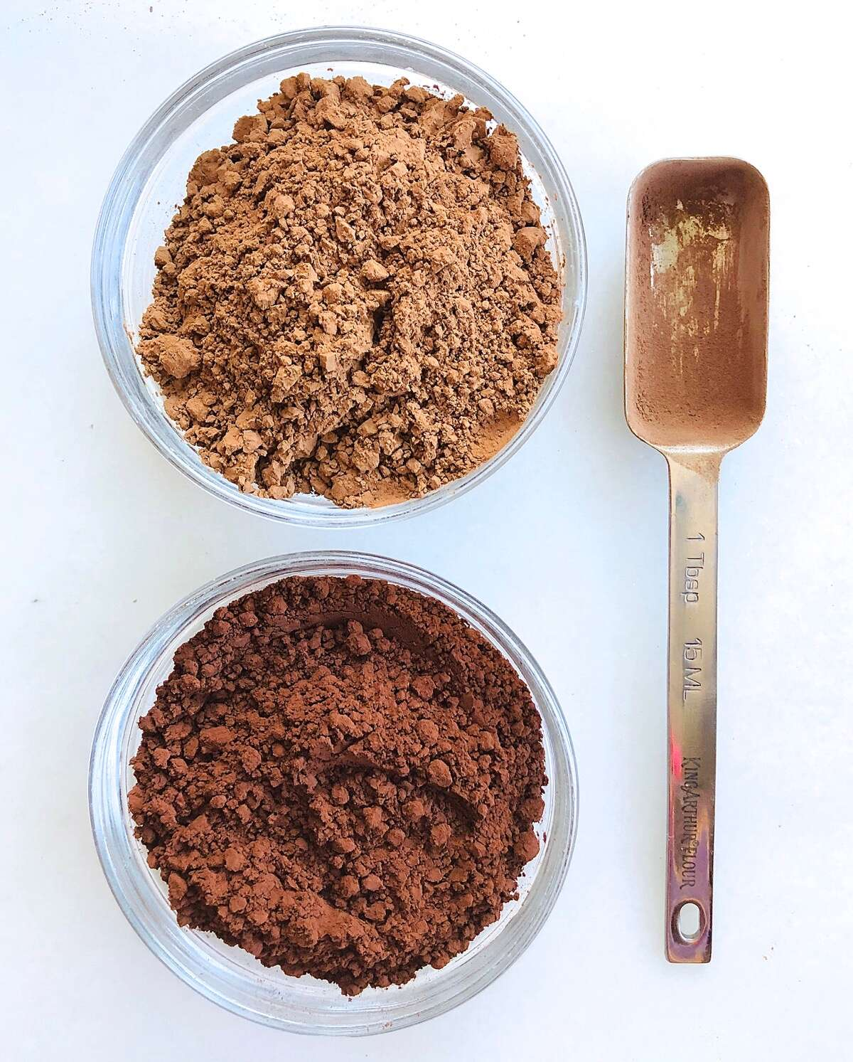 Natural cocoa and Dutch-process cocoa in small bowls showing color difference.