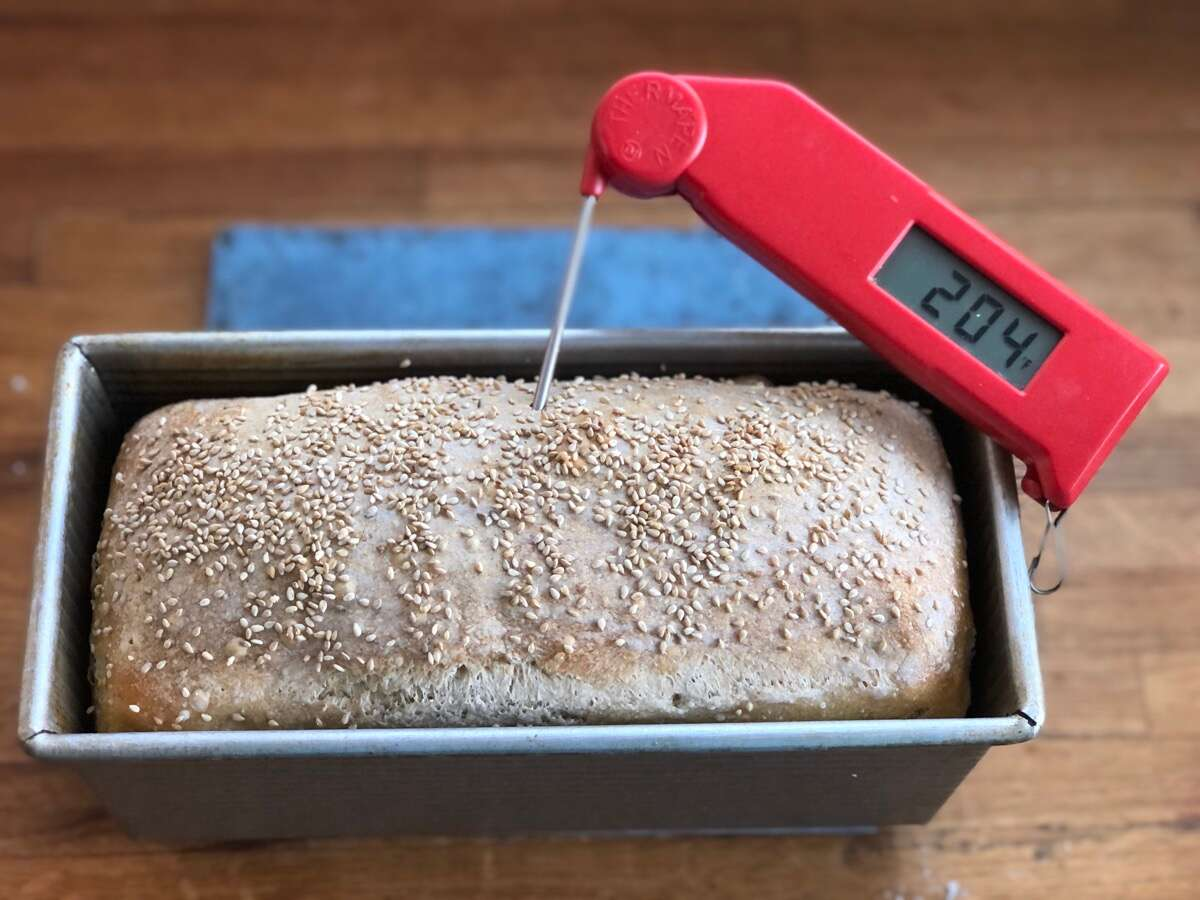Baked sourdough bread with a thermometer inserted into its center registering 204°F.