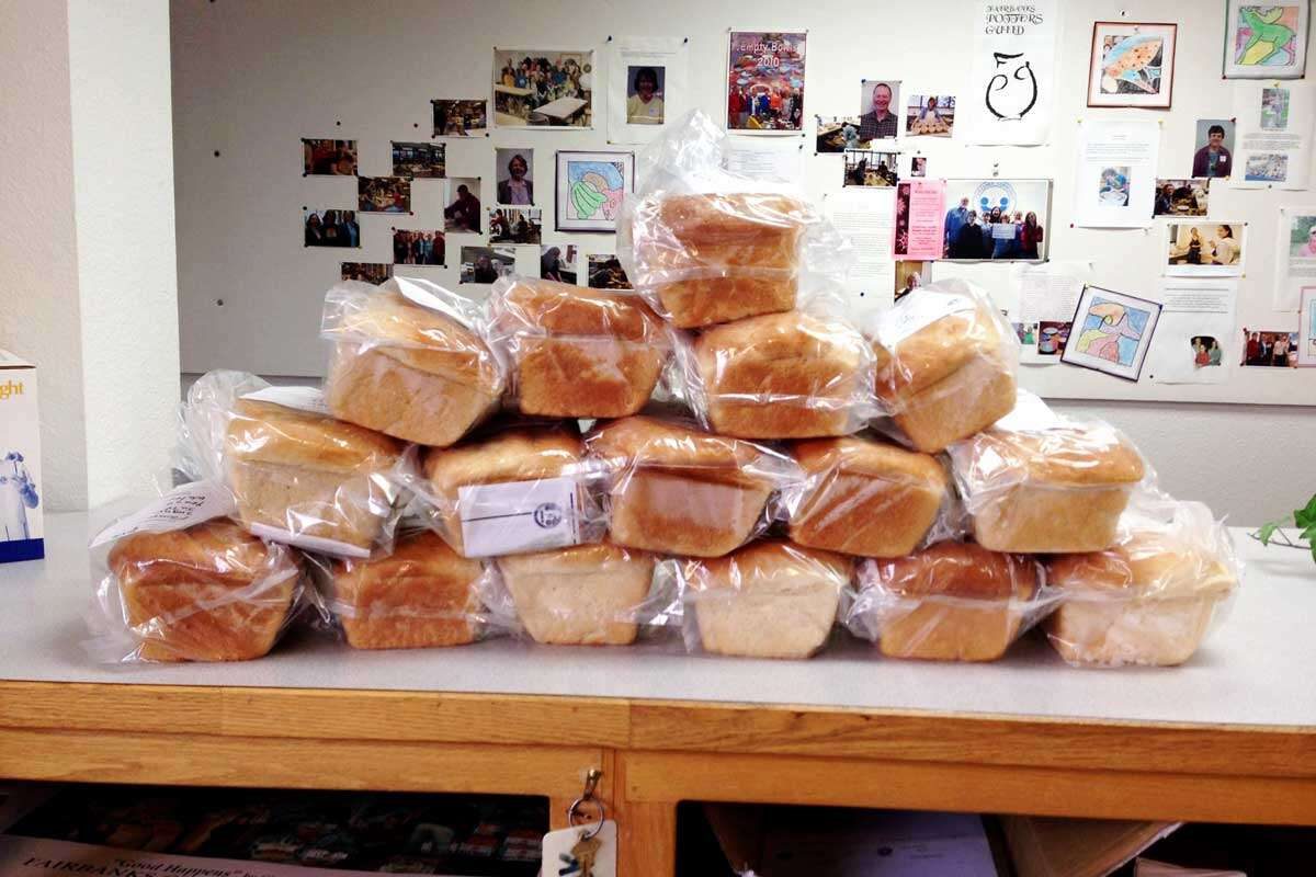 Stacked loaves to donate