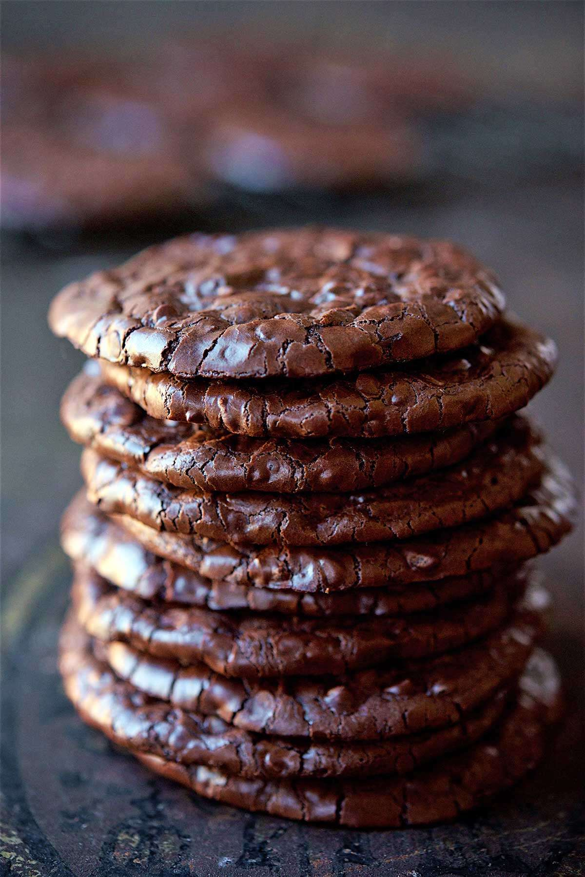 A stack of flourless fudge cookies