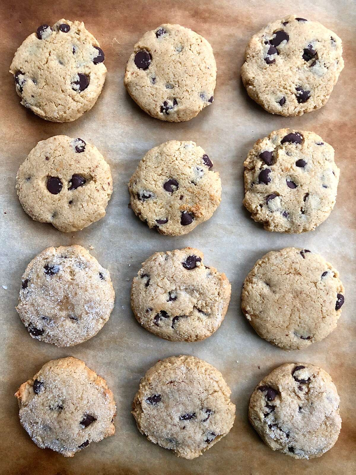 Gluten-Free Almond Flour Chocolate Chip Cookies on a baking sheet.