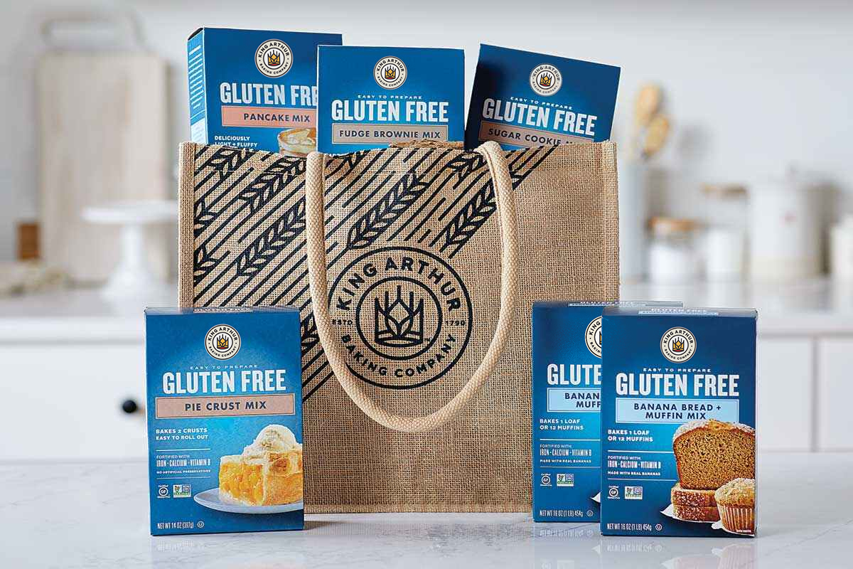 A canvas bag with King Arthur Gluten-Free mixes