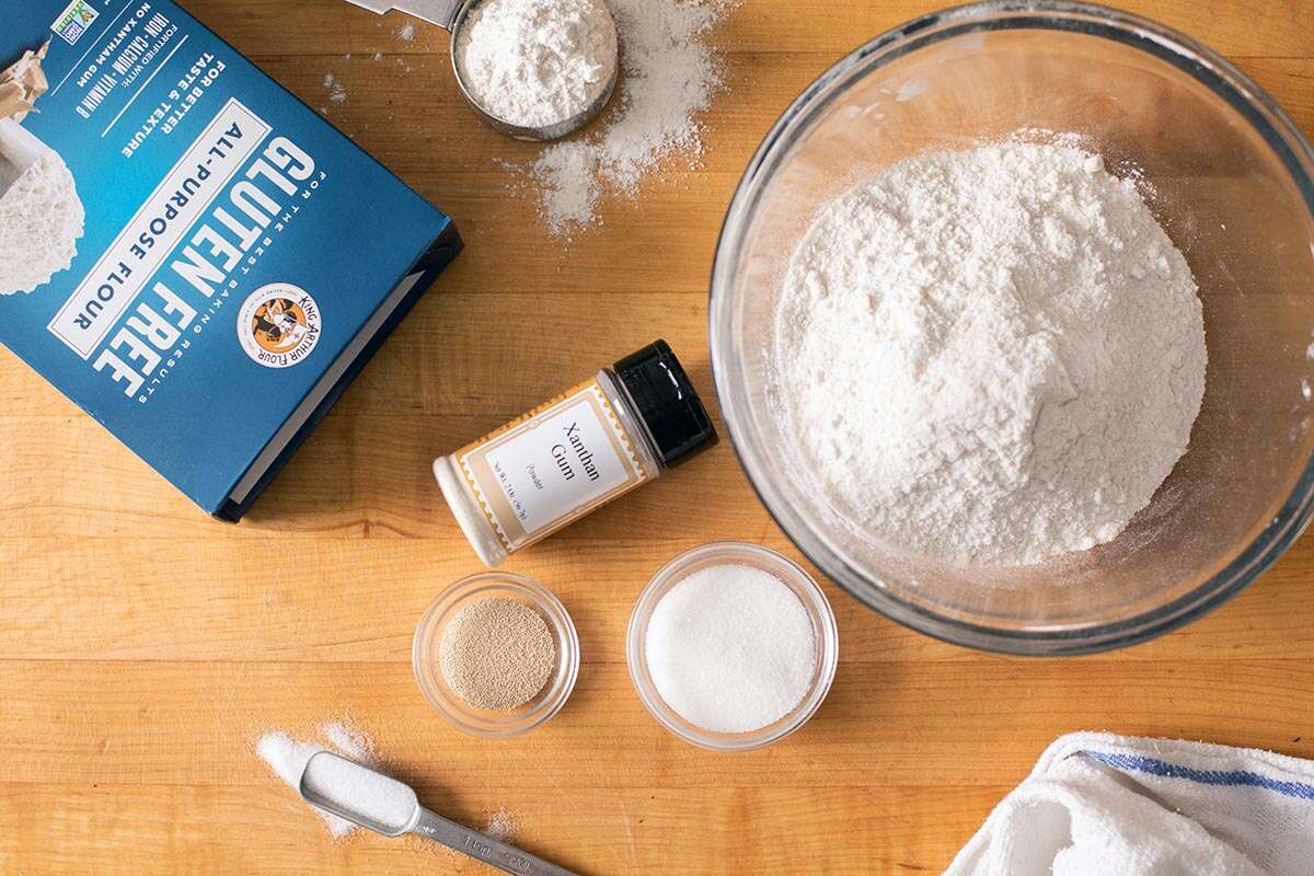 All of the ingredients needed to make gluten-free cinnamon rolls, including King Arthur Gluten-Free Flour