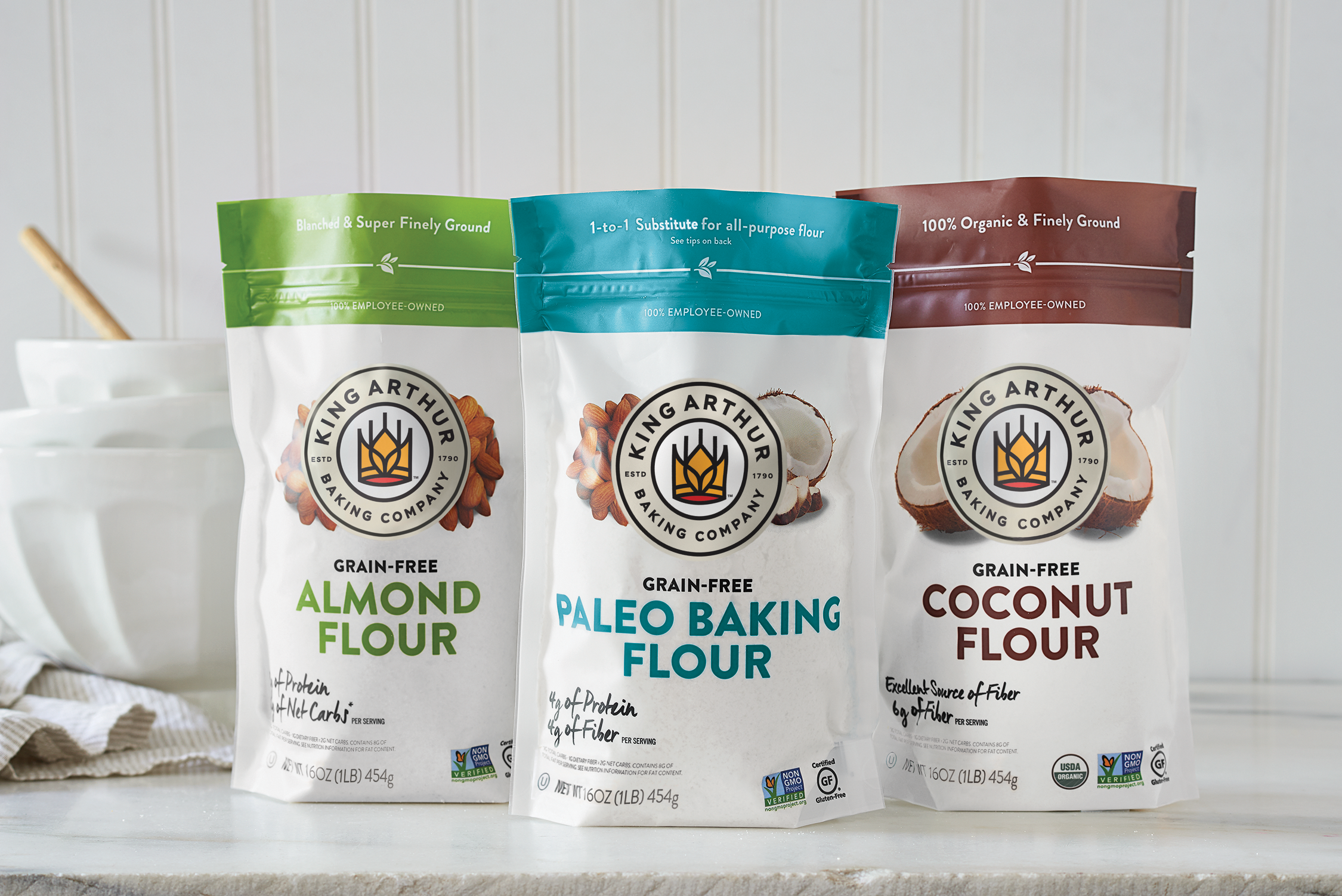 Line of grain free flours featuring updated King Arthur Baking Company logo