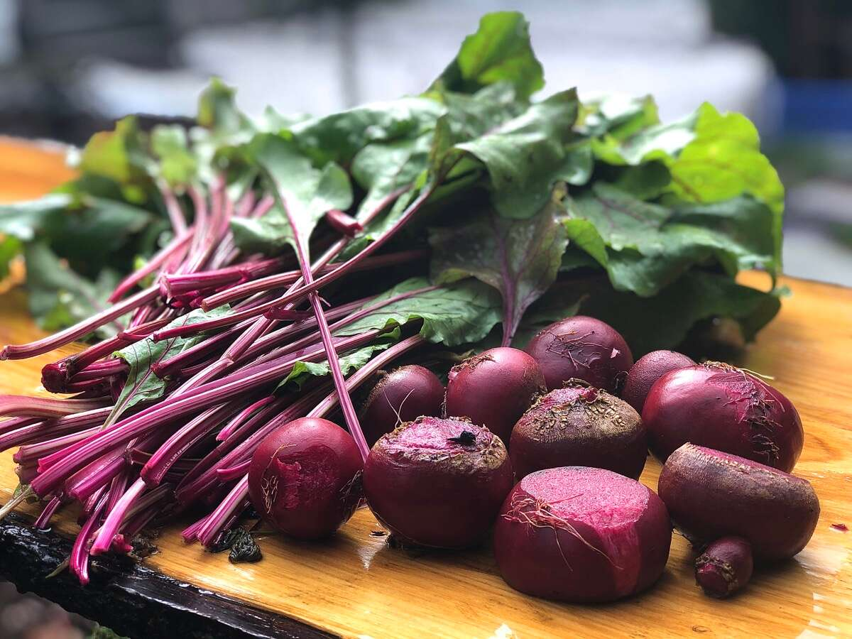 Freshly harvested beets and beet greens on an outdoor cutting board.