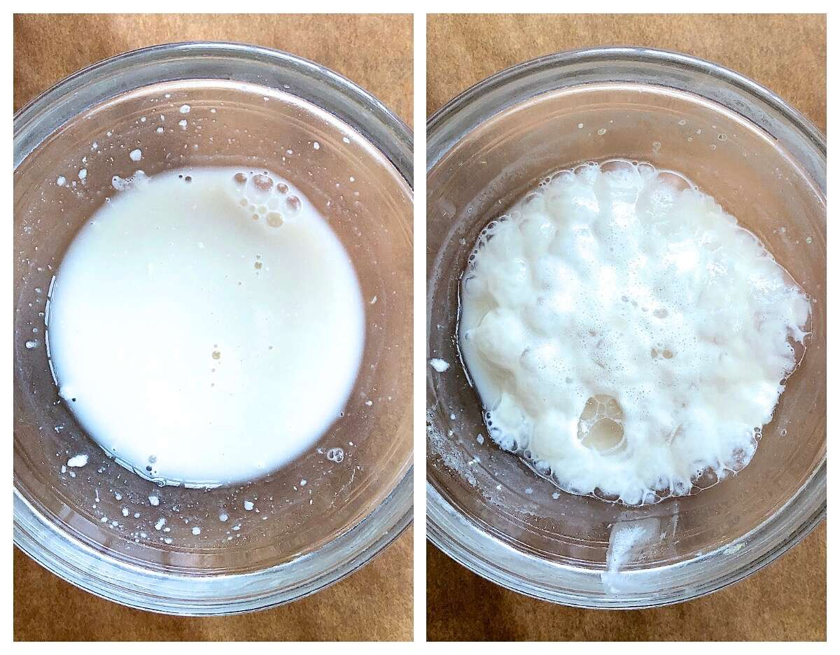 Side-by=side pictures of yeast being proofed in a small glass bow: once before proofing, once after