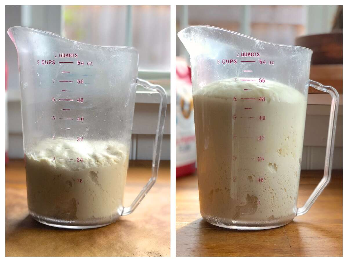 Side by side photos showing an 8-cup measure with bread dough, once at th beginning of the rise, once at the end.