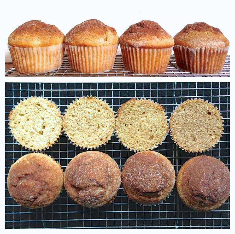 Two photos of doughnut muffins: one head on to show the height of their rise, one top down, cut, to show their interior color